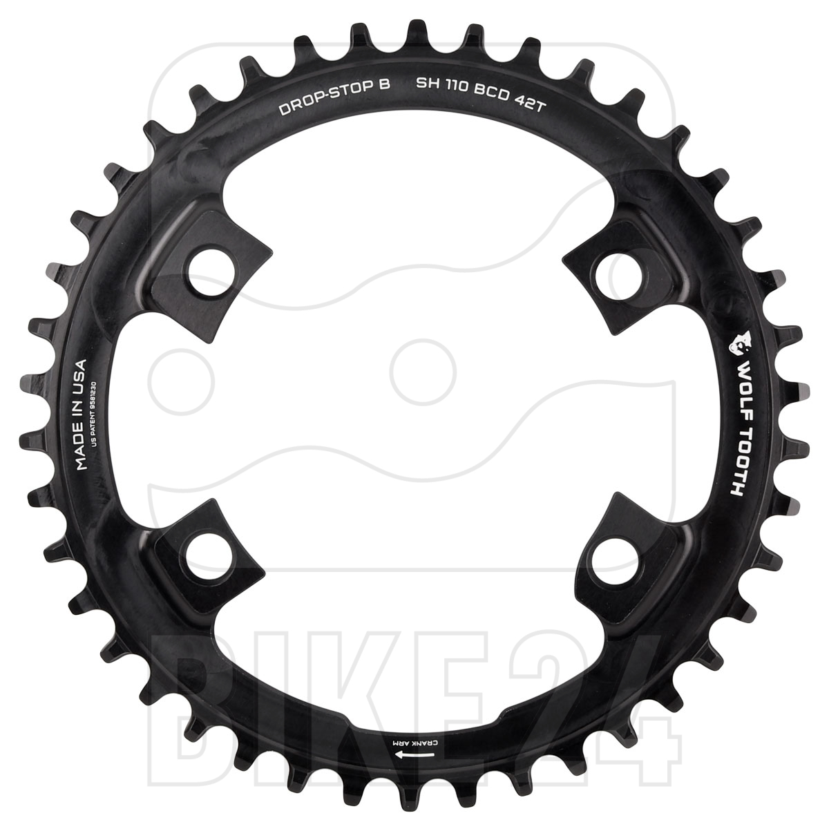 Wolf Tooth Single Chainring for Shimano 110 BCD Asymmetric 4-Bolt - Drop Stop B - black