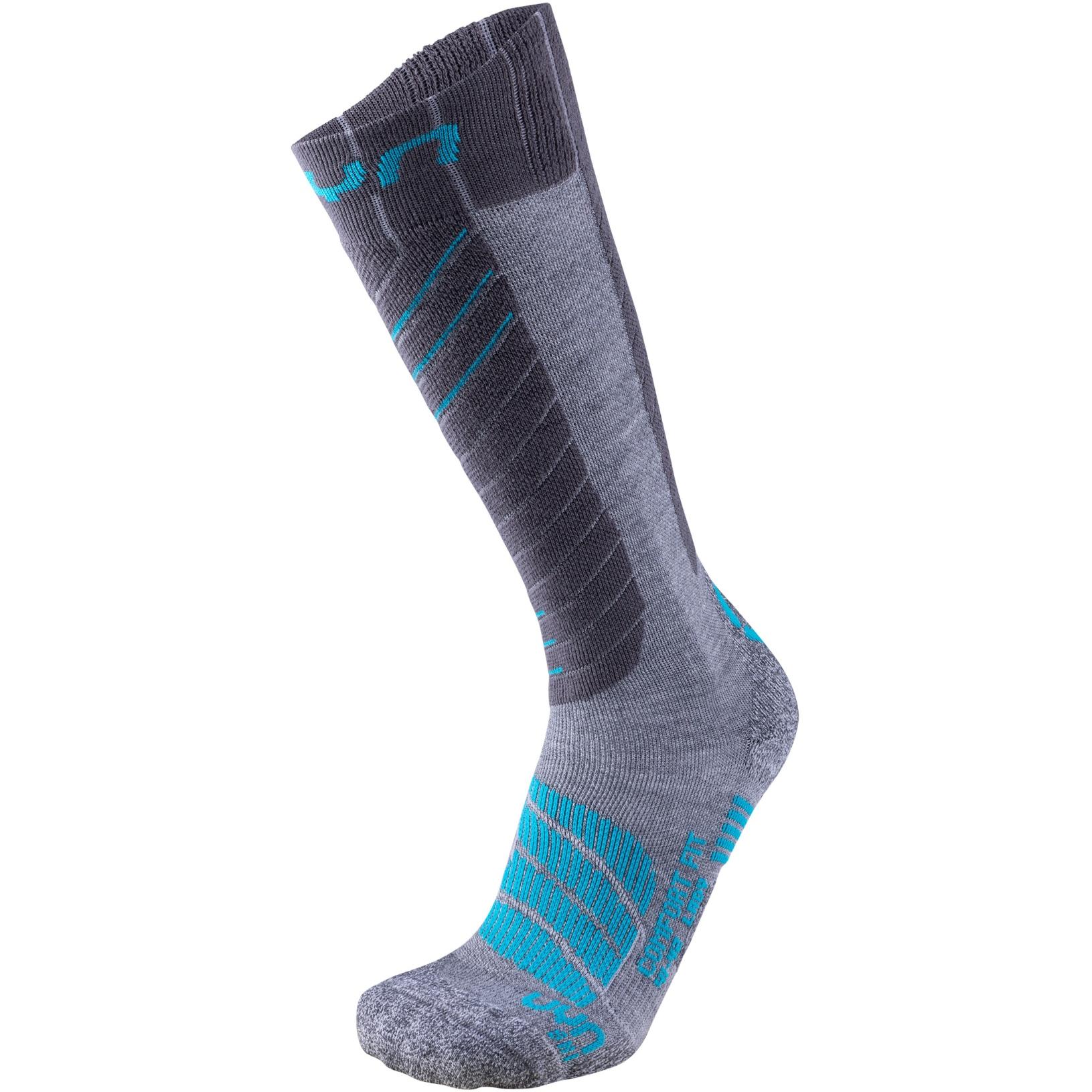 UYN Comfort Fit Ski Socks Women - Grey/Turquoise