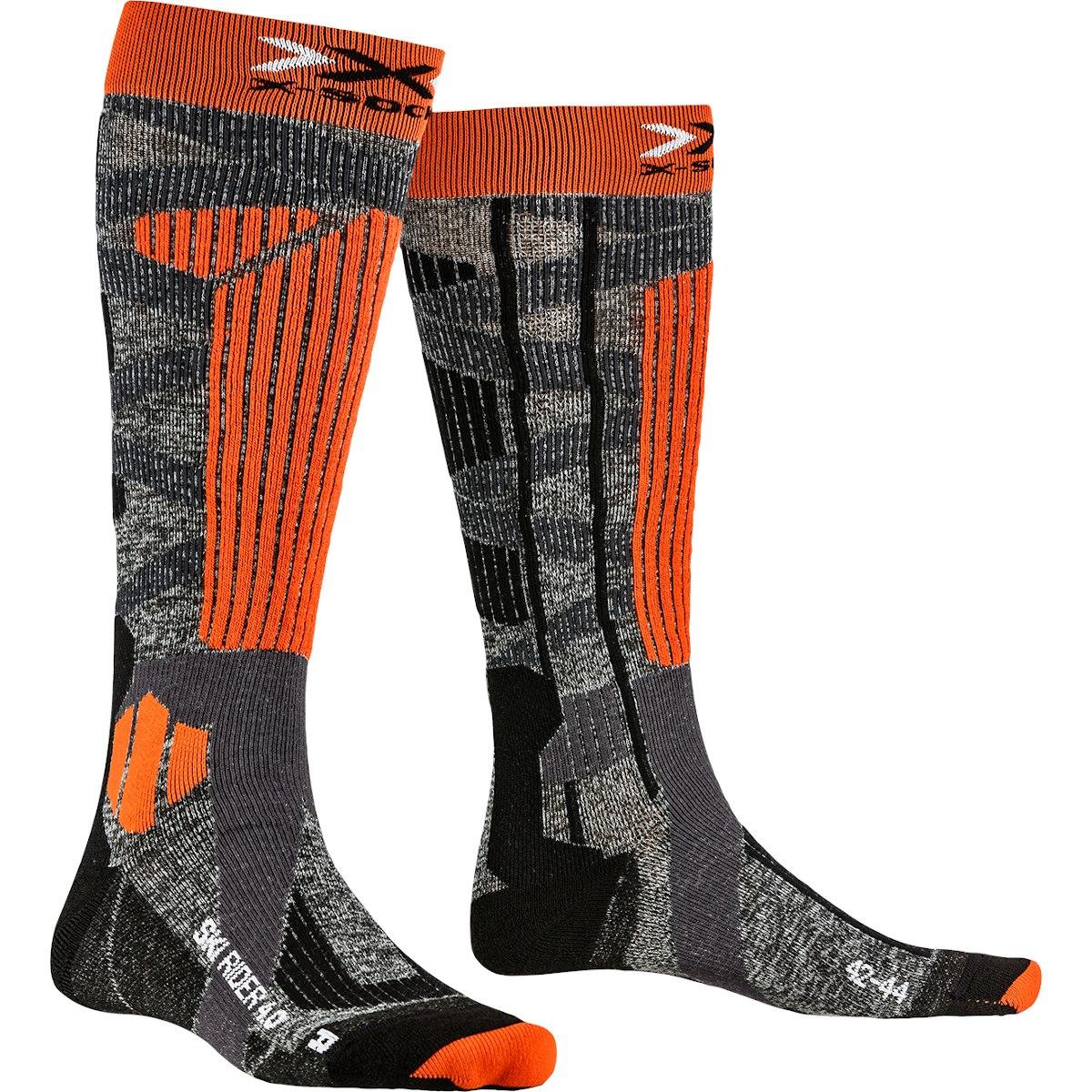 X-Socks Ski Rider 4.0 Socken - stone grey melange/x-orange