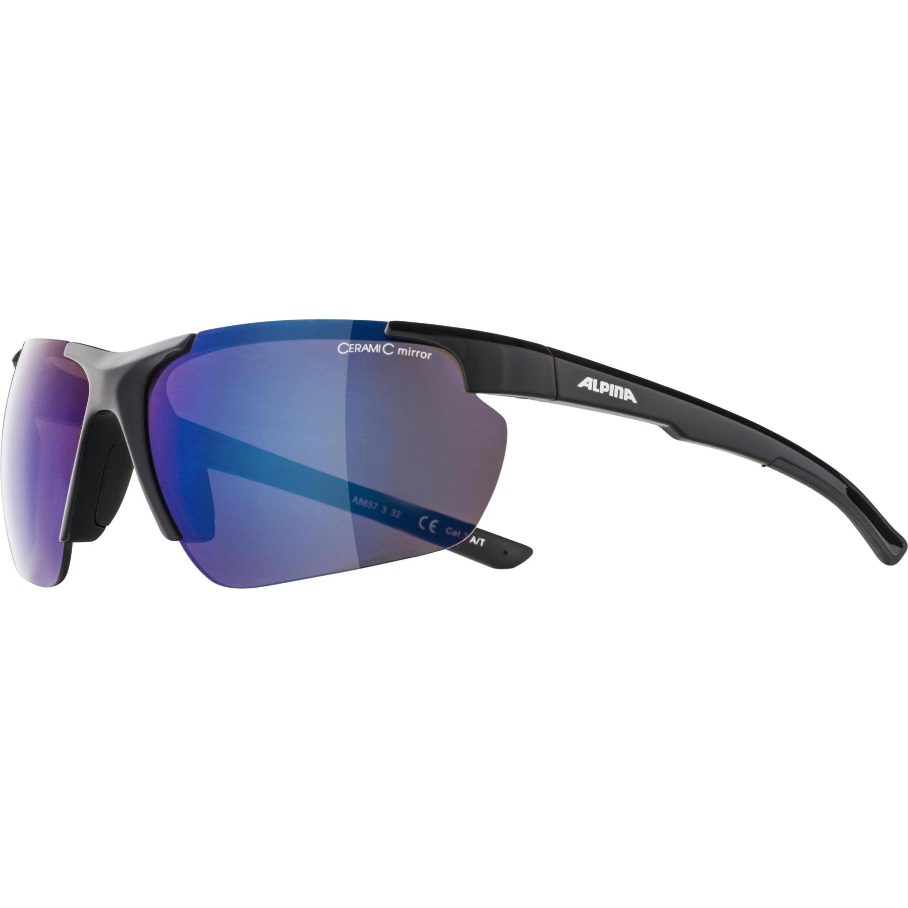 Image of Alpina Defey HR Glasses - black  / blue mirror