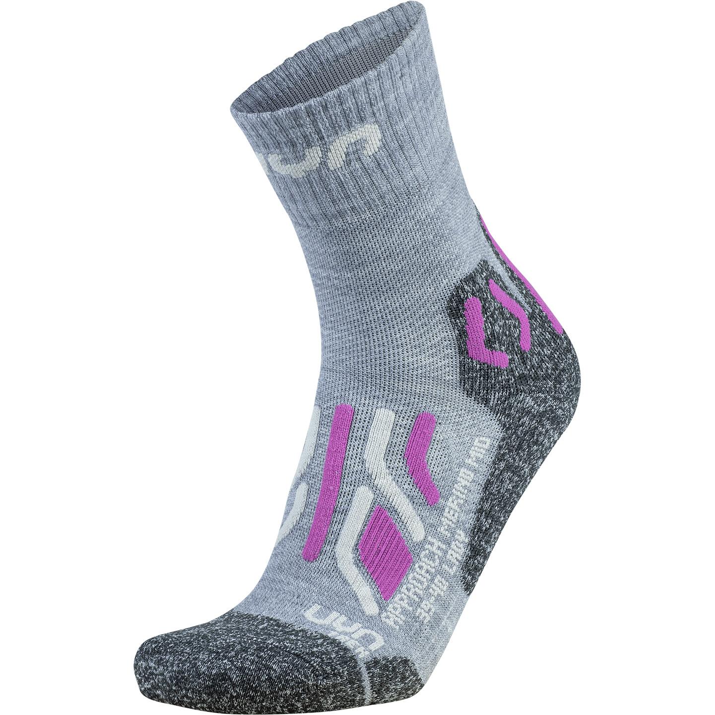 Image of UYN Lady Trekking Approach Merino Mid Cut Socks - Light Grey/Pink