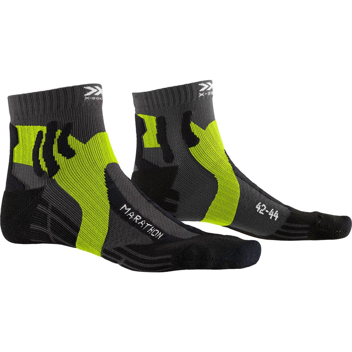 X-Socks Marathon Running Socks - charcoal/phyton yellow/black