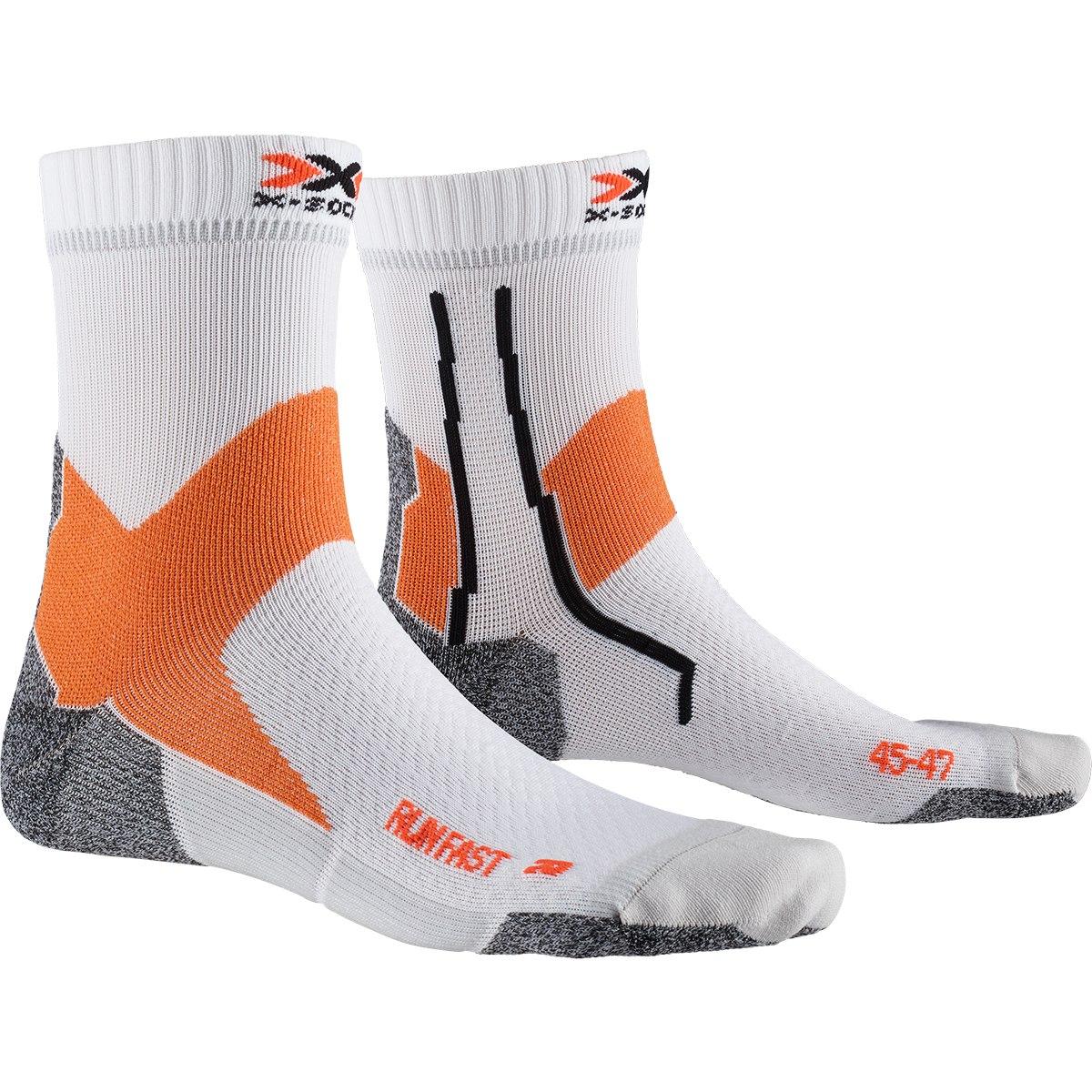 X-Socks Run Fast Laufsocken - arctic white/sunset orange